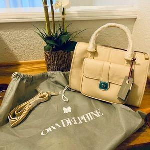 Ora Delphine Cream Kelly Satchel Leather Purse NWT
